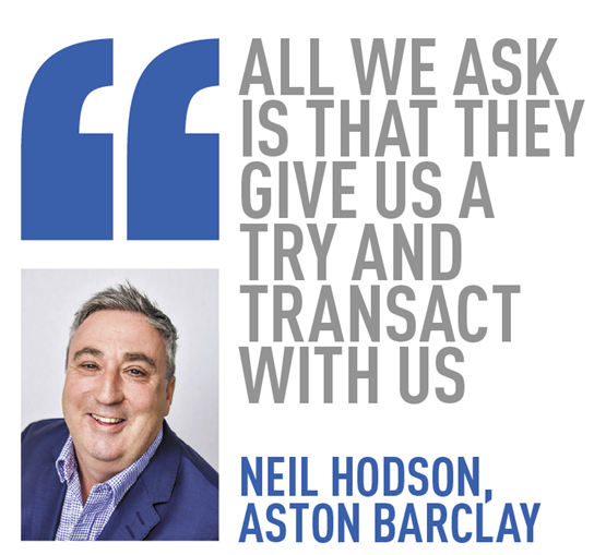 all we ask is that they give us a try and transact with us  neil hodson, aston barclay