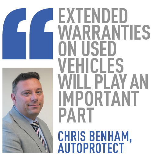 extended warranties on used vehicles will play AN important part chris benham, AutoProtect