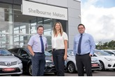 Richard Ward, sales director, Caroline Willis, financial director, and Paul Ward, sales director, at Shelbourne Motors.
