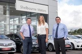 Richard Ward, sales director, Caroline Willis, financial director, and Paul Ward, sales director, at Shelbourne Motors.