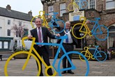 Simon Bailes and Cllr John Forrest, Mayor of Northallerton show off the TDY bikes