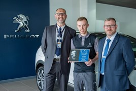 Mark Godson, aftetrsales learning & development manager, The Performance Academy, PSA Group, Kris Collinson and Paul Wiffen, service  manager at Simon Bailes Peugeot