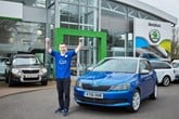 Feeling blue? A Leicester City fan celebrates with Skoda