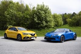 Renault Sport Megane hatchback and Alpine A110 coupe
