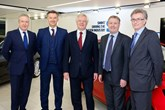 Brexit talks: Adrian Hallmark, director of strategy, Jaguar Land Rover; Mike Hawes, SMMT chief executive; David Davis, Secretary of State for Exiting the EU; Rory Harvey, chairman and MD, Vauxhall UK; and Ian Howells, senior vice-president, Honda Motor Group