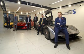 UK supercar stars (left to right): Andy Palmer, McLaren Automotive; Donald Pow, Allied Vehicles; Les Edgar, TVR; Mike Hawes, SMMT; Simon Wood, Lotus; and Dr Andy Palmer, Aston Martin.