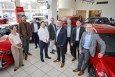 The team from Snows Motor Group celebrate their BRiT award win from Toyota GB