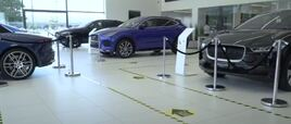 Social distancing one-way systems in place at Cambria's Grange JLR dealership