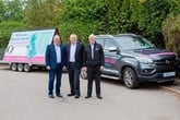Nick Laird, managing director of SsangYong Motor UK with Adi Ryan, father of Jadi and regional aftersales manager & Brian Compton, used car sales manager who will be sharing the driving