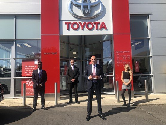 Steven Eagell chief executive, Steven Eagell, celebrates his Chelmsford Toyota dealership's Ichiban Awards win