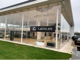Dual brand: Aston Martin and Lexus signage at Stoneacre Motor Group's Newcastle showroom