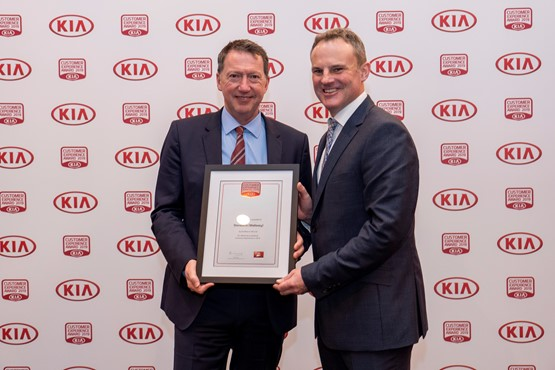 Stoneacre operations director Shaun Brookhouse and Simon Hetherington, Kia Motor UK commercial director