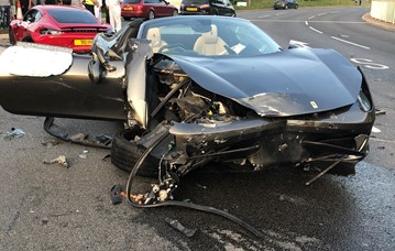 The Ferrari 458 Spider which had been driven by Tom Hartley director, Carl Hartley