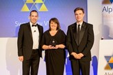 Swansway group fleet sales director, Sarah Eccles, receives the Alphabet dealer of the year award