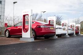 Teslas charging