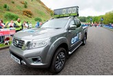 Alex F Noble & Son's NV300 Navara clock car at the recent Edinburgh Marathon Festival