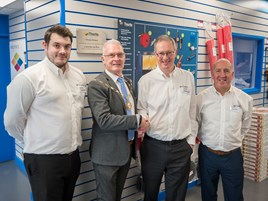 David Lewis, branch manager of the Bristol sales and service centre, councillor Ian Blair, Stephen Wright, managing director of Thorite, Steve Boyle, general manager of the Bristol sales and service centre.