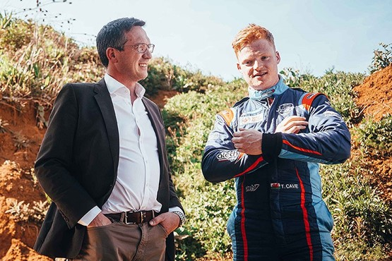 Ashley Andrew with current British  Rally Championship leader Tom Cave