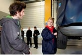 TrustFord panel beater Chelsea Riddle gets some advice from TT racer and TV presenter Guy Martin