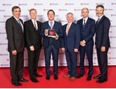 Picture caption (left to right): Dr Johan Van Zyl, president and CEO Toyota Motor Europe; Andrew Harrison, managing director Harry Feeney; Jonathan Jarratt, managing director Oakmere Toyota; Gary Mulvaney, managing director Helensburgh Toyota; Matt Harrison, executive vice president Toyota Motor Europe; Paul Van der Burgh, Toyota GB president and managing director.