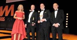 Richard Gough (second left), head of aftersales at Marshall Motor Group, and Bob Maxwell, general sales manager, Mercedes-Benz of Preston, received the award from Kevin Brockbank, (right), core sales director of Santander Consumer Finance