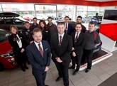 Mark Dickinson and Steve Penn with the team at Vertu Honda Mansfield