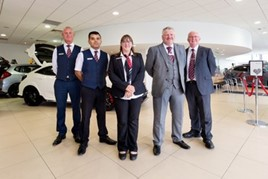 Vertu Honda sales executives (from left): Andrew Kinsey, Vik Sandhu, Anne Robinson, Peter Wileman and Jeffrey Rex