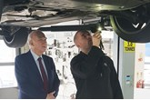 Rt Hon Sir Vince Cable MP in the workshop at Inchcape Volkswagen, Twickenham