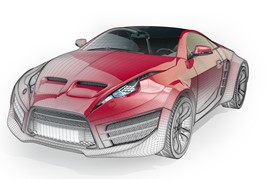 Virtual car wireframe graphic