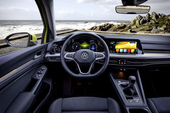 The Volkswagen Golf 8 interior dispenses with many buttons in favour of digital displays