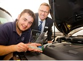 Volvo's Second Year Service Apprentice Technician of the Year, Jake Taylor, with Bob Bean, general manager at Bristol Street Motors Volvo Derby