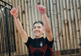 HR Owen service manager Paul King celebrates the success of his 10 hour cycling fund-raiser