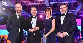 Heritage Automotive awards win: Volkswagen UK head of sales Rod McLeod, Chris Samson (Heritage), Volkswagen UK brand director Alison Jones and Kevin Rendell, Volkswagen UK head of service and parts