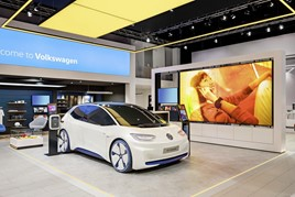 "An ID.3 electric vehicle (EV) on dispaly at the ""Brand Experience New Volkswagen"" congress in Wolfsburg"