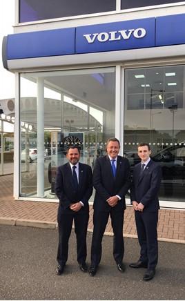 Waylands' Richard Spencer (left), John O'Hanlon and James Smullen outside a Volvo dealership