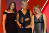 Wendy Swaine, head of sales (retail), Cap HPI,  accepts the award from Julia Pennington, managing  director, Copeland Automotive Recruitment, right, and host Lisa Snowdon, left