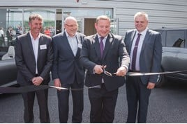 Westover Group opens its £7.5m Jaguar Land Rover service centre in Christchurch (from left): Matt Spiller and Keith McKay from Knights Brown, the construction company; Peter Walker, Westover operations director; John Ray from Gemco