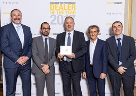 WILL ADAMS (SALES MANAGER, DSG MORECOMBE), THIERRY KOSKAS, ROB BENNETT (GROUP HEAD, RMB NORTHALLERTON), ALAIN PROST, CRAIG SEAGER (DEALER PRINCIPAL, BAGOT ROAD)