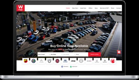 Wilsons new ecommerce car retail website's homepage