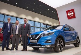 WR Davies Nissan Stafford grand opening (left to right): Nissan Motor (GB) managing director, Alex Smith alongside dealer principal Alan Poole and WR Davies group owner Jonathan Davies