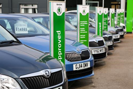 Skoda approved used event stock on a dealer's forecourt