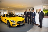 David George (second right), sales director, Mercedes-Benz Passenger Cars UK, officially opened the site. He is pictured with (left to right): Nick Robinson, Sytner Mercedes-Benz franchise director; Jeremy Simpson, head of business and market area sales director and Adam Jordan, Sytner Mercedes-Benz divisional managing director.