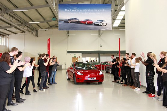 The arrival of the first right-hand-drive Tesla Model 3s to the UK