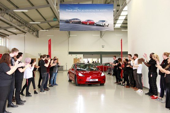 The handover of right-hand-drive Tesla Model 3s to UK customers started yesterday, Clean Air Day