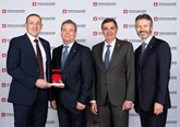 From left to right. Steve Davidson: general manager Burrows Barnsley, Steve Burrows managing director Burrows Toyota, accept the award from Dr Johan van Zyl, president and chief executive of Toyota Motor Europe and Paul Van der Burgh, president and managing director of Toyota (GB) PLC
