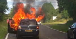 Vauxhall Zafira on fire in a picture originally posted on social media